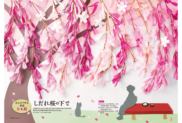 春の壁画 しだれ桜の下で