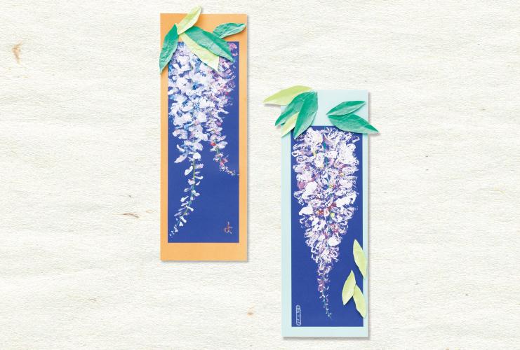 段ボールのスタンプで描く「藤の花の短冊」