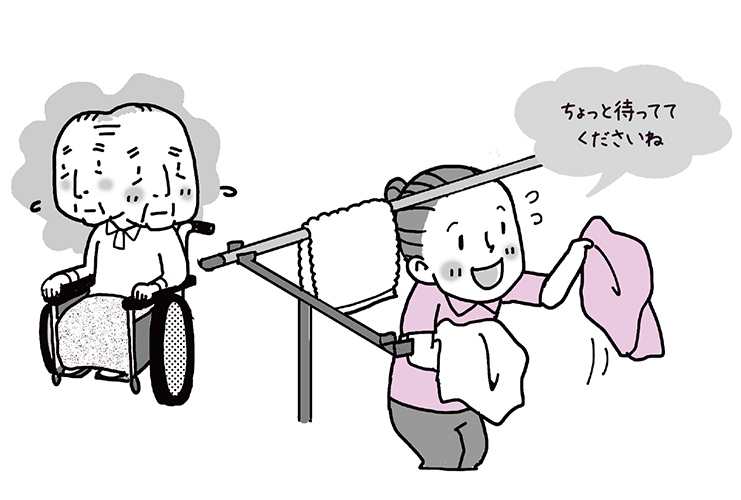 【不適切事例4】車いすで職員の側にいてもらっています